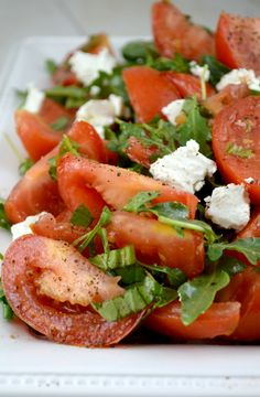 Marinated Tomato Salad with Arugula, Basil and Chevre. A Perfect Taste of Summer!!! #paleo #sides #recipe