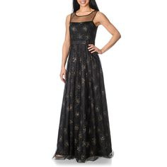 5f13631d3b Decode 1.8 Women s Black and Gold Swirl Embellished Gown