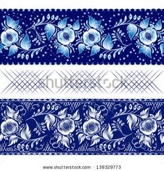 Set of horizontal seamless gzhel patterns on a dark blue background. Vector illustration Blue floral pattern in gzhel style. Vector illustration - stock vector
