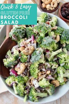 What if I told you that it only takes 10 minutes to whip up THE BEST Broccoli Salad ever?! That's right, this delicious broccoli salad with bacon, raisins and cashews is so easy to make and everyone at your next BBQ or party will go crazy for this recipe! If you've ever had Joan's Broccoli Madness at Sweet Tomatoes, then you're going to love this copycat recipe! For a quick and easy shortcut, I toss the salad in my favorite creamy Coleslaw dressing. It's sweet, salty, crunchy & SO EASY to… Best Broccoli Salad Recipe, Easy Broccoli Salad, Fresh Broccoli, Veg Dishes, Vegetable Side Dishes, Easy Delicious Recipes, Vegetarian Recipes, Yummy Food, Creamy Coleslaw Dressing