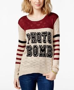 Pretty Rebellious Juniors' Photo Bomb Pullover Sweater