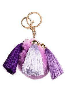 Purple Pom Pom Tassel Keychain
