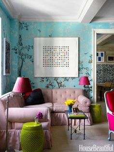 In the Mood: February 2018 | La Dolce Vita  {A Bright Mix of Colors in a Living Room by Miles Redd as featured in House Beautiful}
