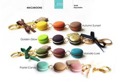 Macaroon Keychain,french macaron,Gold keychain,gold key ring,Purse…