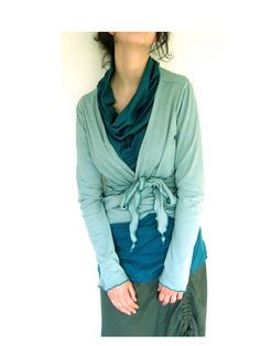 Asymmetrical cowl neck top tunic cotton jersey with frill on the  front. $62.00, via Etsy.