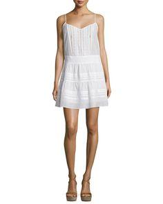 FRAME Lace Pointelle-Trim Tank Dress, Blanc. #frame #cloth #