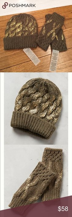 Baby it's Cold Outside Gift Set Green with shimmer hat  and fingerless gloves. Super cute and stylish. Warm and comfy too! Anthropologie Accessories Gloves & Mittens