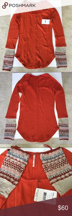 """FINAL PRICE-NWT Free People thermal Ski Lodge cuff Amazing colors that are perfect for the season! 🙌 NWT Free People Ski Lodge cuff thermal in Crimson Combo. Medium is pictured and it's measurements are: pit to pit is 16"""", shoulder to hem is approx 28"""", and pit to hem is 15"""". Scoop bottom. Small measurements available upon request. Perfect condition. I'm open to reasonable offers and give bundle discounts!😊☮💜✌️ Free People Tops"""