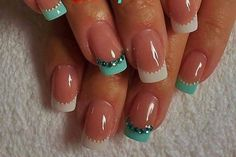 French manicure in turquoise and white with rhinestones