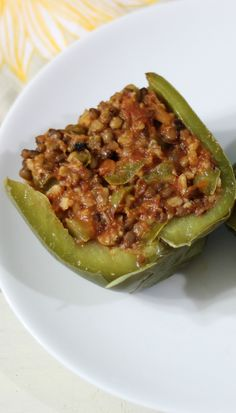 Lentil Stuffed Peppers  - A healthy, high fiber, low calorie pepper stuffed with lentils, tomatoes and cheese.
