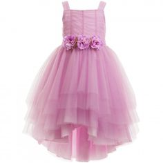 Aletta - Dusky Pink Tulle Dress with Flowers   Childrensalon