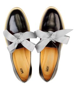 black & grey leather ribbon-tie brogues, A Tale of Flats Grey Leather, Shoe Sale, Brogues, Chanel Ballet Flats, Designer Shoes, Fashion Brands, Black And Grey, Winter Fashion, Footwear