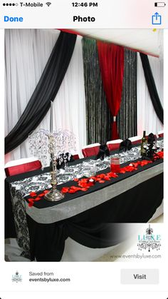 Red and black wedding, damask wedding, black and red backdrop and head table black and red flowers wedding backdrop, red and black wedding, damask Red And White Wedding Decorations, Red And White Weddings, Pink Wedding Theme, Damask Wedding, Luxe Wedding, Wedding Themes, Trendy Wedding, Wedding Colors, Wedding Ideas