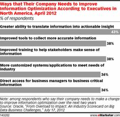 Ways that Their Company Needs to Improve Information Optimization According to Executives in North America, April 2012 (% of respondents)