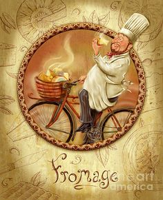 Chefs On Bikes-fromage. DescriptionChef riding his vintage bicycle from the market with a basket filled with fresh cheese. Fun artwork for the kitchen or dining room. Artist, Shari Warren.