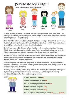 Describe the boys and girls worksheet - Free ESL printable worksheets made by teachers