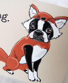 Foxy Boston Terrier Greeting Card by AfricanGrey on Etsy