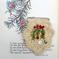 Brooch - embroidered - hand knitted - Yew tree - kilt pin - patches & pins - badge by Laviniaslegacy on Etsy