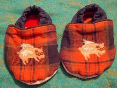 Baby Booties 12 to 18 months Wide Foot Fit Red Plaid with Flying Pig and Aviation Goggles Light Weight Fabric by BettieJune on Etsy