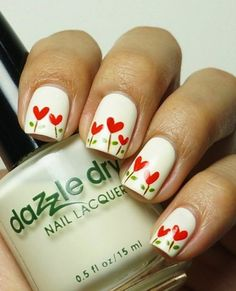 I am unfolding before you Valentine's Day little heart nail art designs, ideas, trends & stickers of 2015 for pointy nails. Heart Nail Art, Heart Nails, Nail Lacquer, Nail Polish, Valentine Nail Art, Nail Art For Beginners, Nagellack Design, Simple Nail Art Designs, Dry Nails