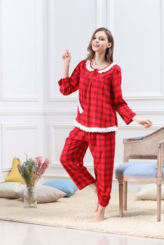 1767c59f01 4PING Ladies Floral Comfortable Breathable Nine Points Sleeves Home Service  Two Sets at Amazon Women s Clothing store