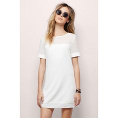 Tobi Ballpark Tee Dress ($38) ❤ liked on Polyvore featuring dresses, outfit, shirts, white, white tee shirt dress, shift dress, white tshirt dress, collar dress and white shift dress