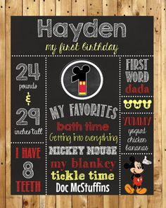 Mickey Mouse Birthday Chalkboard Poster // First Birthday Chalkboard on Etsy