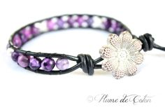 Sugilite Jasper and sterling silver leather wrap bracelet
