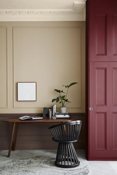 Wall: Ferdinand 313. Castell Pink 314. Nether Red 315 Door: Arras 316 Trending Paint Colors, Best Paint Colors, Interior Paint Colors, Interior Design, Paint Colours, Little Greene Paint Company, Monday Inspiration, Color Inspiration, Peinture Little Greene