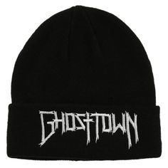 Ghost Town Logo Watchman Beanie | Hot Topic found on Polyvore featuring accessories, hats, headwear, logo beanie, black hat, embroidered beanie hats, black beanie hat and knit beanie