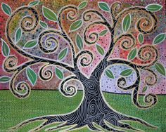 Notable Tree CANVAS PAINTING 20x16 ABSTRACT FOLK ART Metallic TRIM Karla Gerard, just finished, for sale and ready to hang...metallic gold trim...