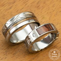 Pair of Titanium Wedding Bands with Koa Wood Inlay Hand Engraved with Hawaiian Heritage Design - $383.84 SGD