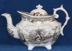 Brown Staffordshire transferware