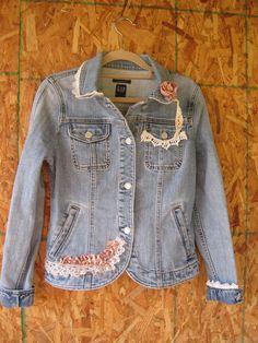 On sale boho denim jacket small eco jeans jacket by ShabyVintage, $37.90
