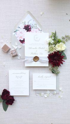 Grey, burgundy and blush wedding invitation suite, watercolor floral envelope liner, silk ribbon and bronze wax seal Whimsical Wedding Invitations, Elegant Invitations, Invitation Suite, Custom Invitations, Invites, Burgundy And Grey Wedding, Wedding Stationery Inspiration, Wedding Inspiration, Wedding Mood Board