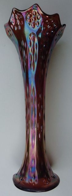 Antique Fenton Long Thumbbprint & Hobnail Carnival Glass Vase 11 7-8 inches 3 1-2 inch base