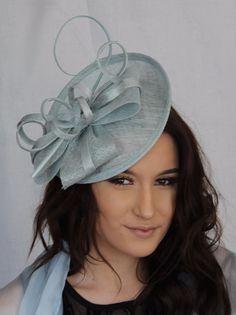 ff8f9819 Light Blue Large Bow Fischer UK Design Fascinator Hatinator headband Hair  band Band Outfits, Headband