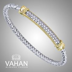 3 mm bracelet made of 14k gold, sterling silver and diamonds. Style # 22738D03 #VAHAN #VahanStyle #Bestseller #Bracelet #Silver #Gold #Diamonds