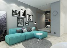Choosing an accent color for a compact apartment is no easy task. It has to be a color you love, a shade with a little flexibility for future additions and embe
