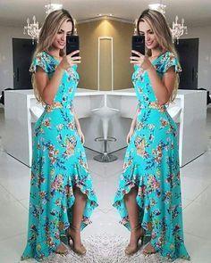 Fırfırlı Elbise Yeşil Uzun Kısa Kollu Asimetrik Kesim Etek Desenli - pionero de la cosmética, alimentación, moda y confección Ruffle Dress, Dress Skirt, Dress Up, Swing Dress, Cute Dresses, Beautiful Dresses, Summer Dresses, Mode Hippie, Yeezy Outfit