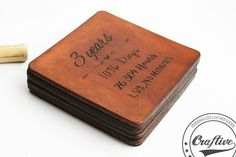 These beautiful coasters were specially created for a 3rd anniversary gift.