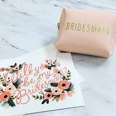 """Make your bridesmaids feel as special as they are with a beautiful """"Will You Be My Bridesmaid?"""" card designed by Rifle Paper Co. You can also ensure they'll be ready for anything on your big day with this Bridesmaid Emergency Kit. Be My Bridesmaid Cards, Will You Be My Bridesmaid, Wedding Bridesmaid Dresses, Bridesmaid Gifts, Bridesmaid Ideas, Wedding Gowns, Summer Wedding Decorations, Summer Weddings, Paper Source"""