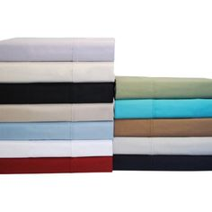 Impressions 300 Thread Count 100% Premium Combed Cotton Solid Sheet Set - Twin - Teal, Blue