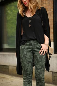 To Vogue or Bust: Camo, black tank and cardigan - keeping it simple - if you like all black but want to keep a few surprises in your wardrobe try this for a weekend look.