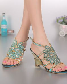 12beb0f19c5f  VIPshop Chunky Heel Sandals Blue Diamond Studded Slingback Open Toe❤ Get  more outfit ideas and style inspiration from fashion designers at VIP.com.