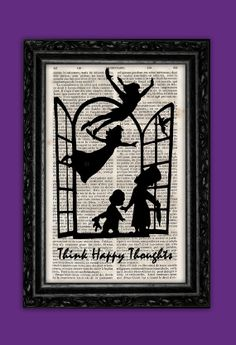 Peter Pan Silhouette Happy Thoughts Art Print - Disney Poster Book Art Nursery Frame Dorm Room Print Gift Wall Decor Poster Dictionary Print on Etsy, $9.73