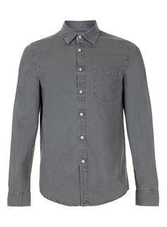 Solid Grey Long Sleeve Denim Shirt