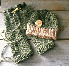 Fern Green and Tan Newborn Knit Hat and Pants Set by grizzlie, $50.00