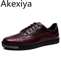 41.40$  Buy here - http://ali1qz.shopchina.info/1/go.php?t=32792633994 - Akexiya Luxury Brand Men's Flats Shoes Genuine Leather Men Casual Shoes Brogue Style High Quality Oxfords Retro Man Footwear  #shopstyle