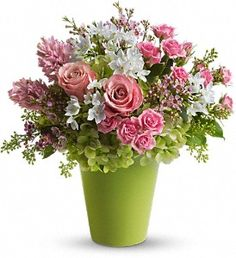 $79.95 Enchanted blooms of dazzling green hydrangea, pink roses, spray roses, hyacinth and waxflower, white narcissus and spring greens...